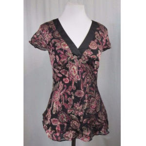 LOFT Burgundy Black V Neck Silk Blend Top 2
